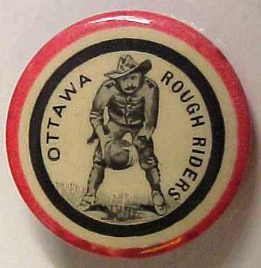 Image of Ottawa Rough Riders Carling pin, featuring player in football stance surrounded by the words Ottawa Rough Riders inside a black circle inside a red circle