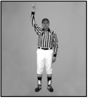 One arm extended above head & indicating 1 point